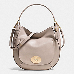 COACH F34656 Circle Hobo In Smooth Calf Leather LIGHT GOLD/GREY BIRCH