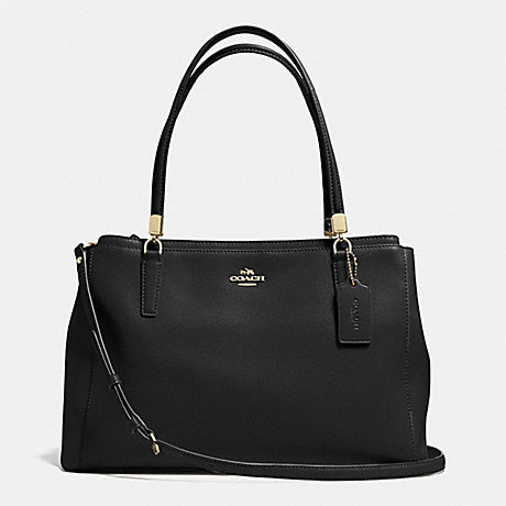 COACH F34672 CHRISTIE CARRYALL IN LEATHER LIGHT-GOLD/BLACK