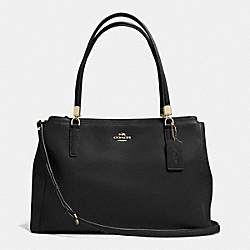 COACH F34672 - CHRISTIE CARRYALL IN LEATHER LIGHT GOLD/BLACK