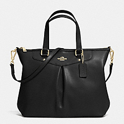 COACH PLEAT TOTE IN CROSSGRAIN LEATHER - LIGHT GOLD/BLACK - F34680