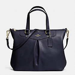 COACH F34680 - PLEAT TOTE IN CROSSGRAIN LEATHER LIGHT GOLD/MIDNIGHT
