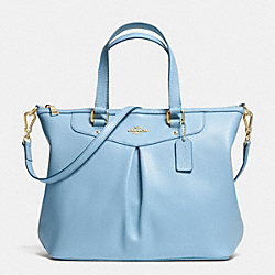 COACH F34680 Pleat Tote In Crossgrain Leather LIGHT GOLD/PALE BLUE