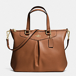 COACH F34680 Pleat Tote In Crossgrain Leather LIGHT GOLD/SADDLE F34493