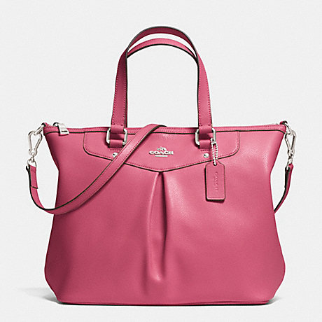 COACH f34680 PLEAT TOTE IN CROSSGRAIN LEATHER  SILVER/SUNSET RED