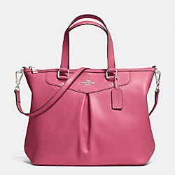 COACH F34680 - PLEAT TOTE IN CROSSGRAIN LEATHER  SILVER/SUNSET RED