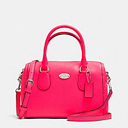 COACH F34697 Mini Bennett Satchel In Crossgrain Leather SILVER/NEON PINK