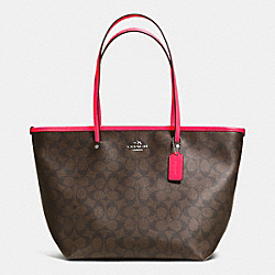 COACH F34703 Street Zip Tote In Signature Canvas SILVER/BROWN/NEON PINK