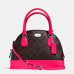 COACH F34710 - MINI CORA DOMED SATCHEL IN SIGNATURE COATED CANVAS SILVER/BROWN/NEON PINK