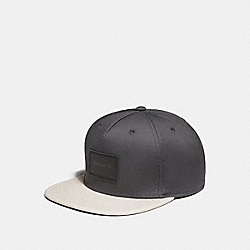 COACH F34718 Colorblock Flat Brim Hat CHARCOAL/CHALK