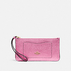 COACH F34762 - ZIP TOP WALLET METALLIC ANTIQUE BLUSH/LIGHT GOLD