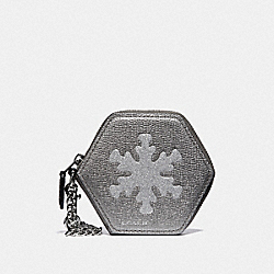 COACH F34770 Snowflake Coin Case BLACK/MULTI/SILVER