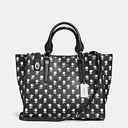 COACH F34775 - CROSBY CARRYALL IN PRINTED CROSSGRAIN LEATHER SILVER/BK PCHMNT BDLND FLR