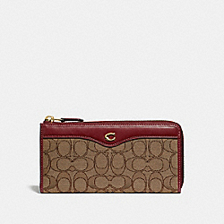 COACH F34790 L-zip Wallet In Signature Jacquard KHAKI/WINE/LIGHT GOLD