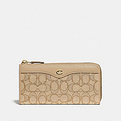 L-ZIP WALLET IN SIGNATURE JACQUARD - F34790 - LIGHT KHAKI/BEECHWOOD/LIGHT GOLD