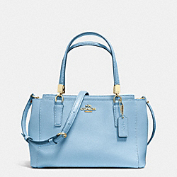 COACH F34797 Mini Christie Crossbody In Crossgrain Leather LIGHT GOLD/PALE BLUE