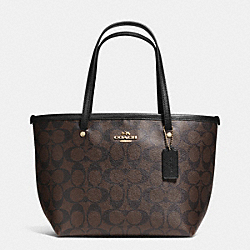 COACH F34803 - SIGNATURE MINI STREET TOTE LIGHT GOLD/BROWN/BLACK