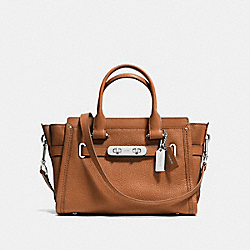 COACH F34816 Coach Swagger  27 In Pebble Leather SILVER/SADDLE