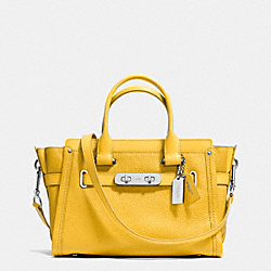 COACH SWAGGER  27 IN PEBBLE LEATHER - f34816 - SILVER/CANARY