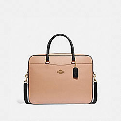 COACH F34822 - LAPTOP BAG BEECHWOOD/BLACK/LIGHT GOLD
