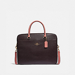 COACH F34822 - LAPTOP BAG OXBLOOD/PINK/LIGHT GOLD