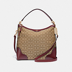 COACH F34824 Ivie Hobo In Signature Jacquard KHAKI/WINE/LIGHT GOLD