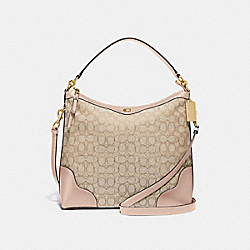 IVIE HOBO IN SIGNATURE JACQUARD - F34824 - LIGHT KHAKI/BEECHWOOD/LIGHT GOLD