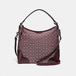 IVIE HOBO IN SIGNATURE JACQUARD - F34824 - RASPBERRY/BLACK ANTIQUE NICKEL