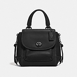 MINI FAYE BACKPACK - F34830 - BLACK/BLACK ANTIQUE NICKEL