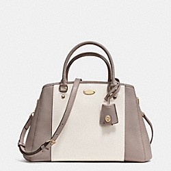 COACH F34853 - SMALL MARGOT CARRYALL IN BICOLOR CROSSGRAIN  LIGHT GOLD/GREY BIRCH/CHALK