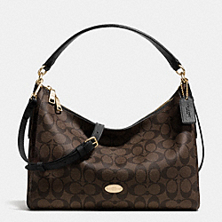 COACH F34899 - EAST/WEST CELESTE CONVERTIBLE HOBO IN SIGNATURE LIGHT GOLD/BROWN/BLACK