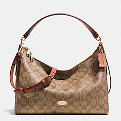 COACH F34899 East/west Celeste Convertible Hobo In Signature LIGHT GOLD/KHAKI/SADDLE