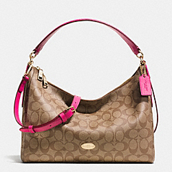 EAST/WEST CELESTE CONVERTIBLE HOBO IN SIGNATURE CANVAS - f34899 -  LIGHT GOLD/KHAKI/PINK RUBY