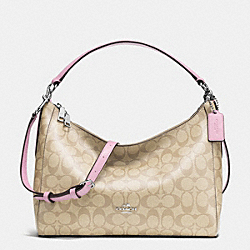 EAST/WEST CELESTE CONVERTIBLE HOBO IN SIGNATURE - f34899 - SILVER/LIGHT KHAKI/PETAL