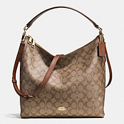 CELESTE CONVERTIBLE HOBO IN SIGNATURE CANVAS - f34910 -  LIGHT GOLD/KHAKI/SADDLE