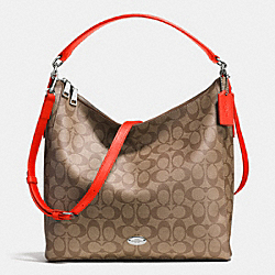CELESTE CONVERTIBLE HOBO IN SIGNATURE - f34910 - SILVER/KHAKI/ORANGE