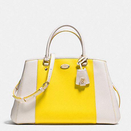 Coach F34913 Margot Carryall In Bicolor Crossgrain Leather Light Gold Yellow Chalk