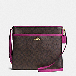 COACH F34938 File Bag In Signature IMITATION GOLD/BROWN/FUCHSIA