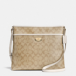 COACH F34938 - FILE BAG IN SIGNATURE  LIGHT GOLD/LIGHT KHAKI/CHALK