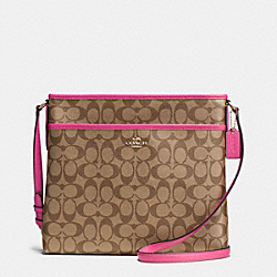 COACH F34938 - FILE BAG IN SIGNATURE  IMITATION GOLD/KHAKI/DAHLIA