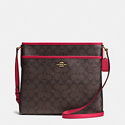 COACH F34938 File Bag In Signature IMITATION GOLD/BROW TRUE RED