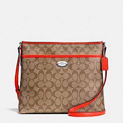 COACH F34938 File Bag In Signature SILVER/KHAKI/ORANGE