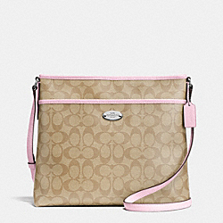 COACH F34938 File Bag In Signature Canvas SILVER/LIGHT KHAKI/PETAL