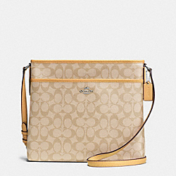 COACH F34938 - FILE BAG IN SIGNATURE  SILVER/LIGHT KHAKI/CANARY
