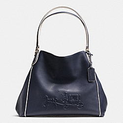 EMBOSSED HORSE AND CARRIAGE EDIE SHOULDER BAG IN PEBBLE LEATHER - f34960 -  LIBGE