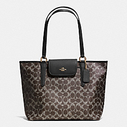 COACH F35074 - WARD TOTE IN SIGNATURE  LIGHT GOLD/SADDLE/BLACK