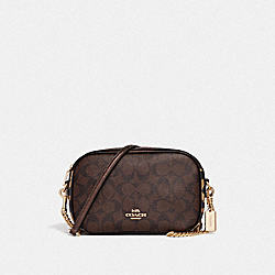 ISLA CHAIN CROSSBODY IN SIGNATURE CANVAS WITH LEOPARD PRINT - COACH F35083 - BROWN MULTI/LIGHT GOLD