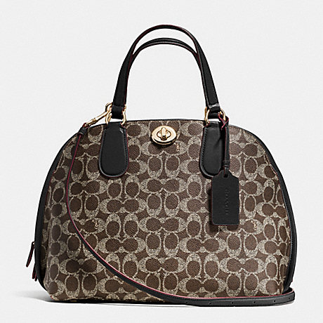 COACH f35091 PRINCE STREET SATCHEL IN SIGNATURE LIGHT GOLD/SADDLE/BLACK