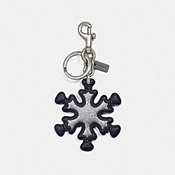 COACH F35127 Glitter Snowflake Bag Charm MIDNIGHT NAVY/SILVER