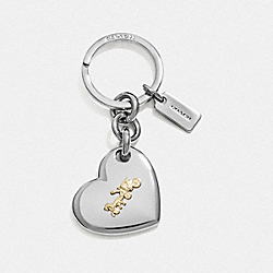 HORSE AND CARRIAGE HEART BAG CHARM - F35133 - SILVER/SILVER