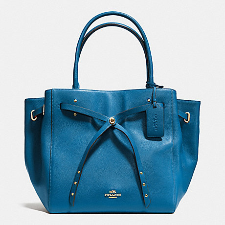 TURNLOCK TIE TOTE IN REFINED PEBBLE LEATHER - COACH F35160 - LIABV